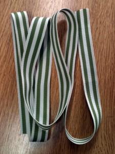 green and cream stripe ribbon | inkdrops.co.uk