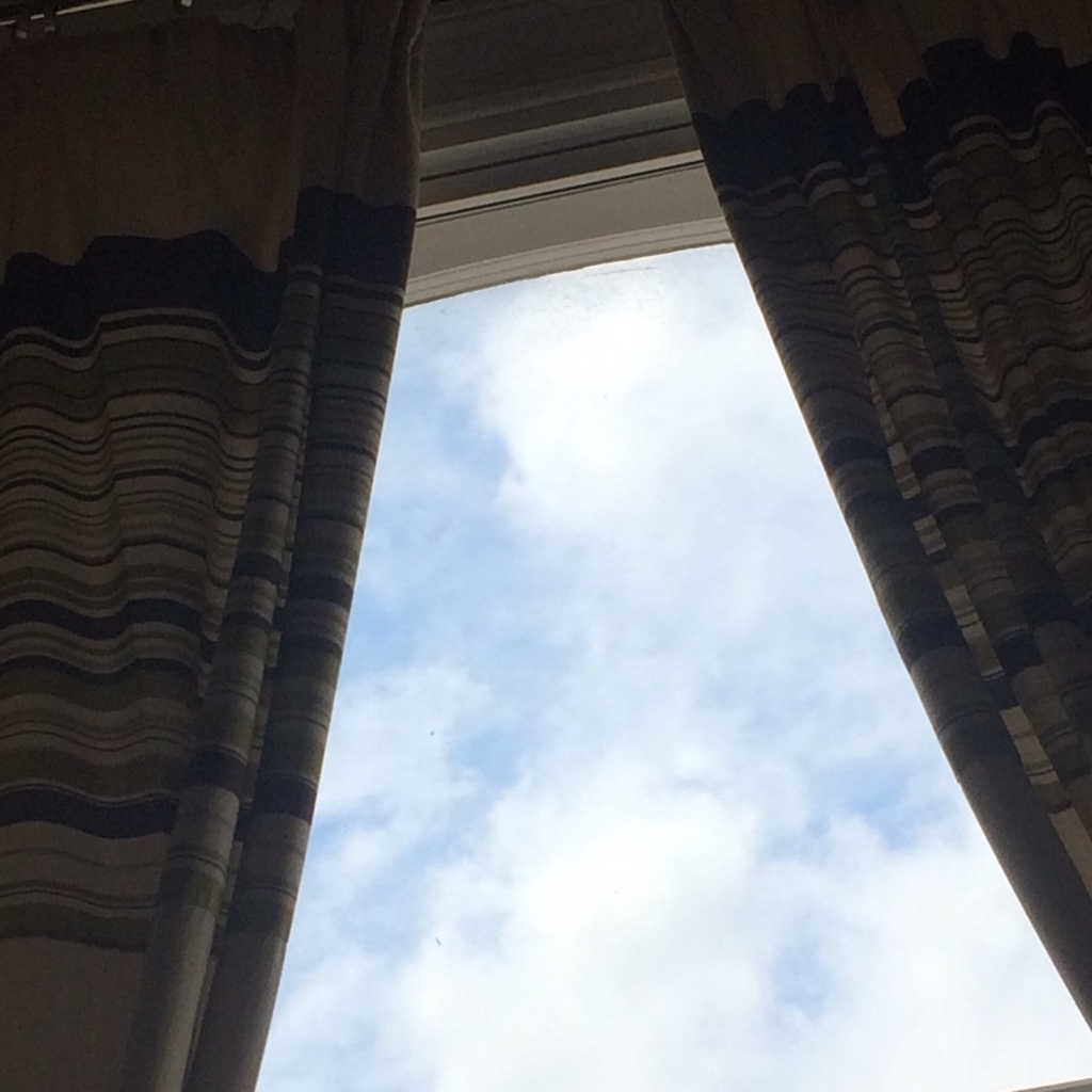 Blue sky through window
