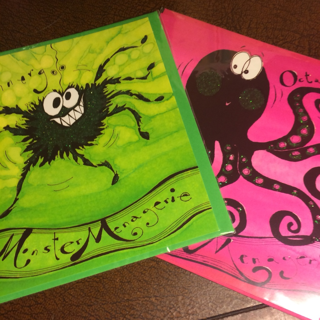 Greetings cards with spider and octopus - to cute to send these are perfect for framing and hanging as a wall decoration
