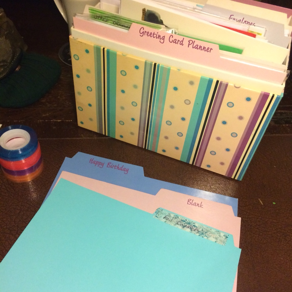 Labelling the dividers on your greeting card organiser using washi tape means that you can have the headings you want