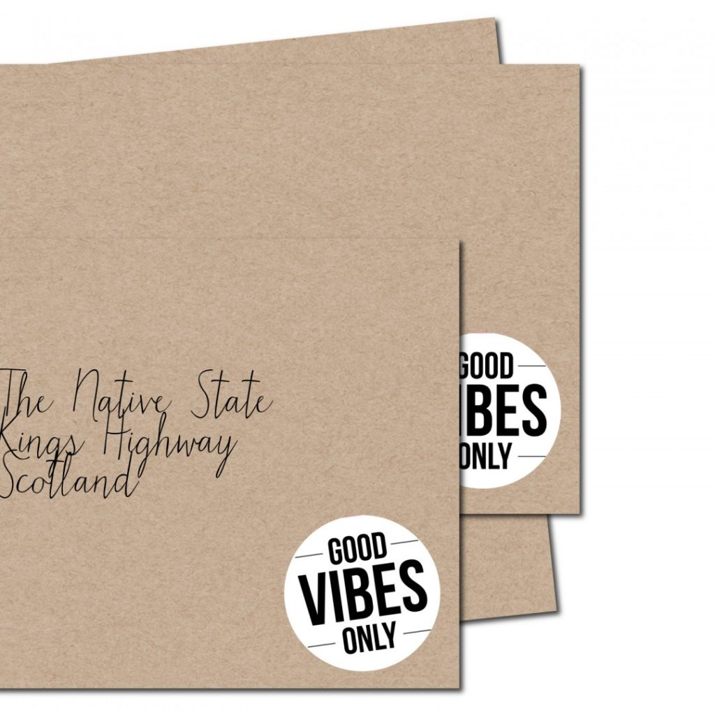 Good vibes only envelope from the Native State| inkdrops.co.uk