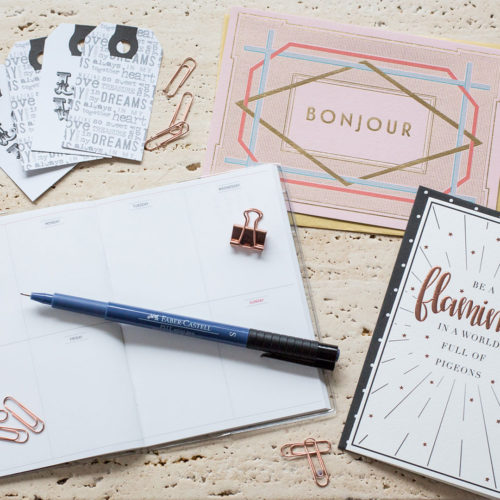 Ink Drops stationery flatlay | inkdrops.co.uk