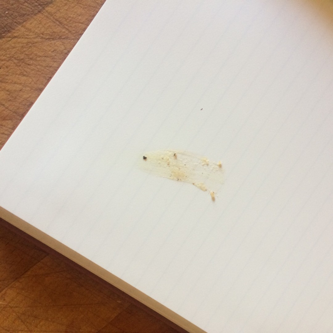 Gravy stain on a page of the Stone Chef's notebook - inkdrops.co.uk - stationery subscription boxes