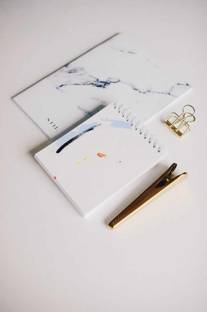 Spiral bound notebook flatlay | inkdrops.co.uk