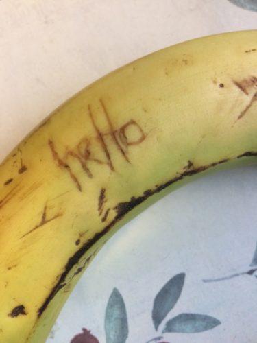 Hello on a banana skin - inkdrops.co.uk