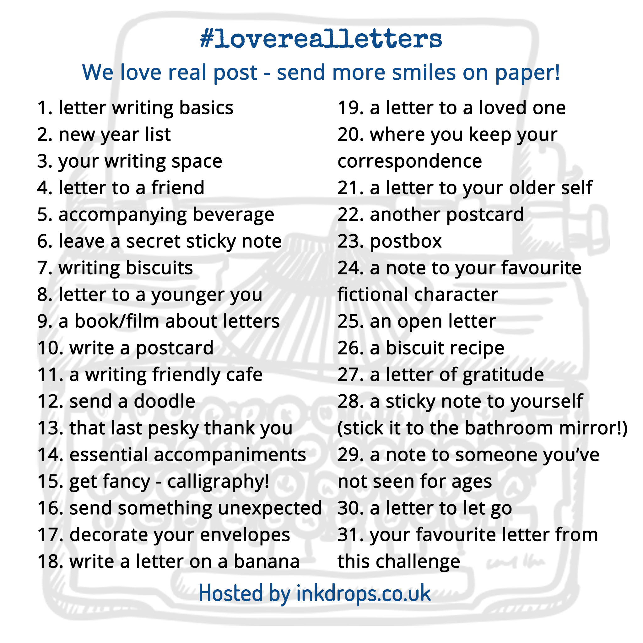 love real letters campaign from Ink Drops - January's daily prompts | Ink Drops stationery subscription box UK | inkdrops.co.uk