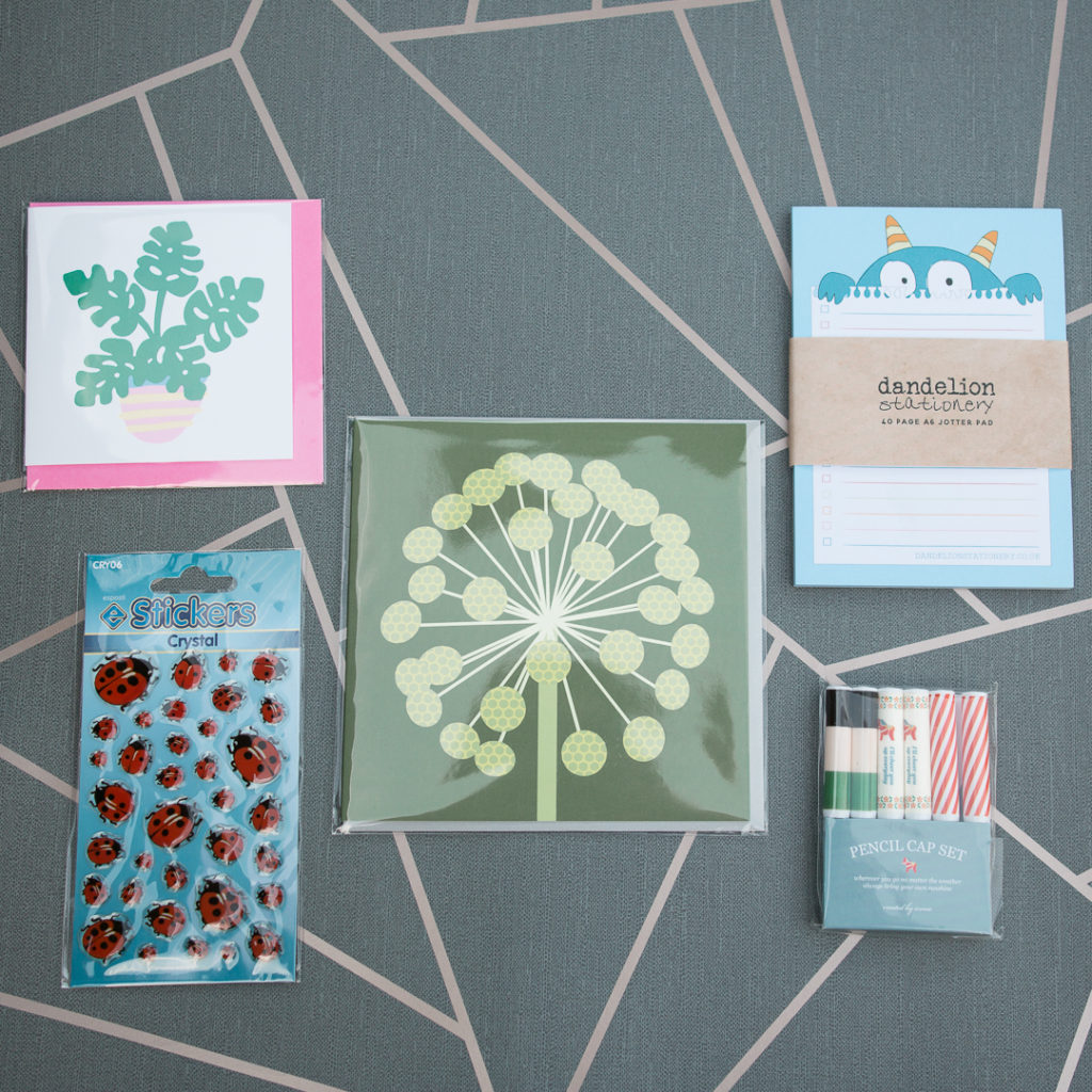 Contents of the August 2019 Ink Drops stationery subscription box