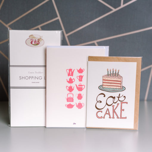 Tea and cake themed stationery selection from inkdrops.co.uk - Stationery by subscription