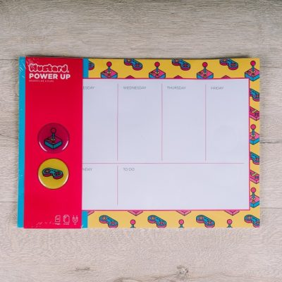 Power up weekly planner with magnet - retro gaming theme - buy from inkdrops.co.uk