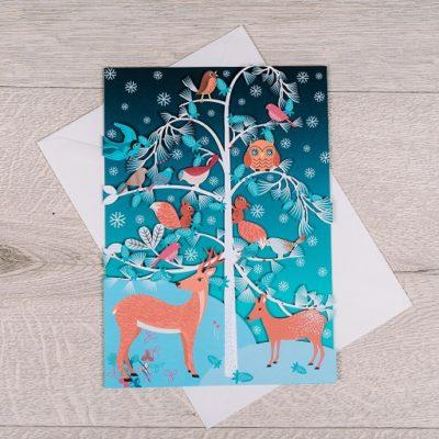winter themed laser cut card from inkdrops.co.uk