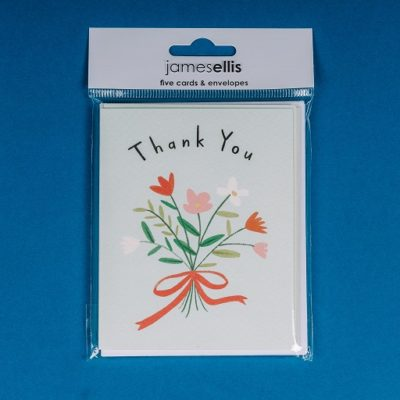 Set of 2 mini thank you cards featuring a bunch of flowers design from inkdrops.co.uk