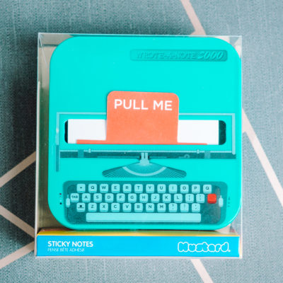 A mini typewriter dispensing sticky notes - inkdrops.co.uk - stationery through your lettrebox