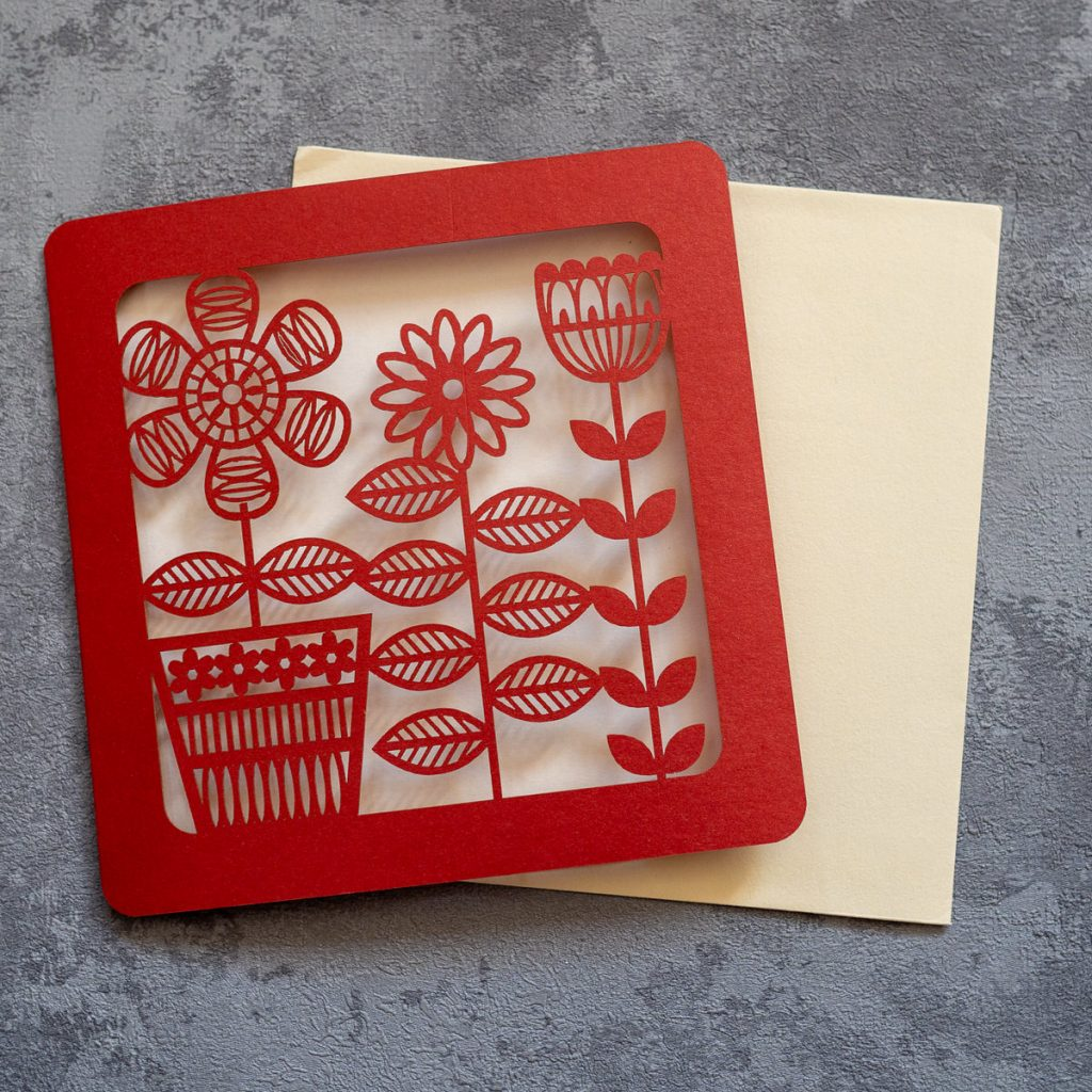 Laser cut red flower card - inkdrops.co.uk - stationery makes the world a happier place